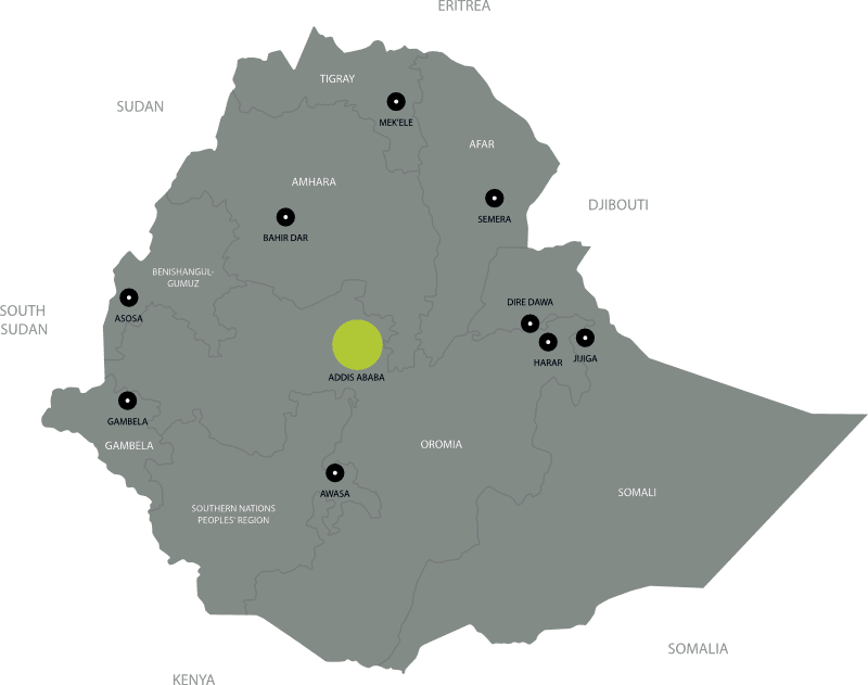 Outline map of Ethiopia showing major towns and cities