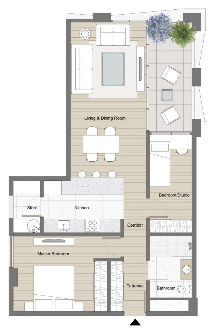 Plan of one bedroom apartment in Kefita, Addis Ababa