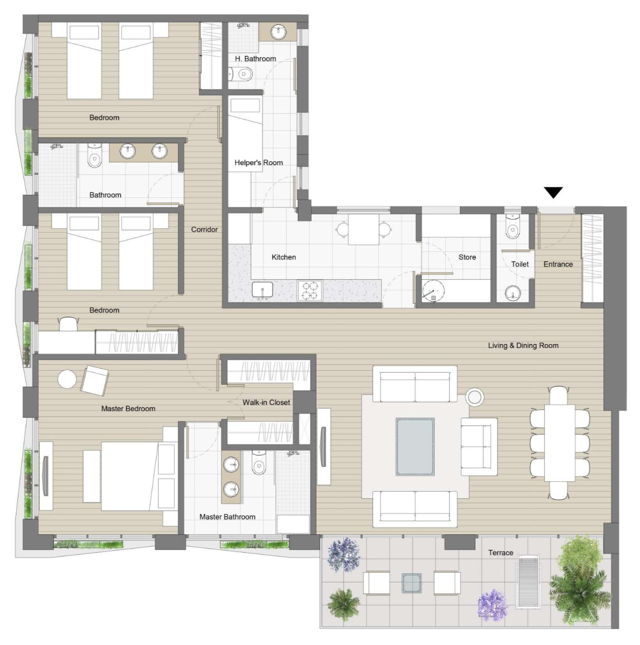 Plan of a three bedroom apartment with helpers quarters in Kefita, Addis Ababa