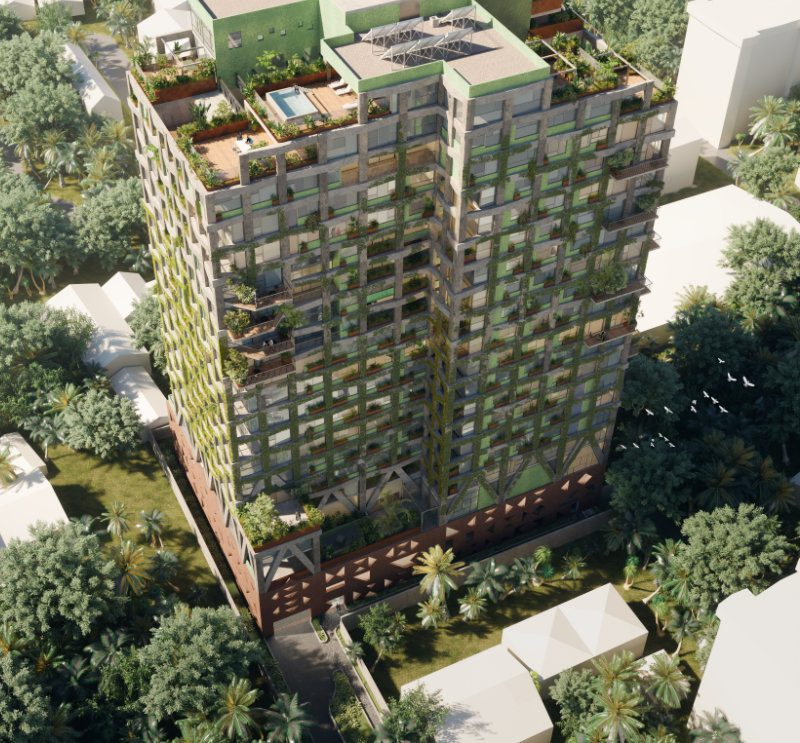 Exterior render of Kefita apartments, Addis Ababa, looking down fro the air