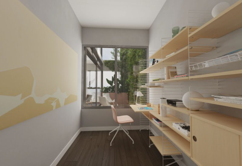 Render of the study in a one bedroom Kefita apartment