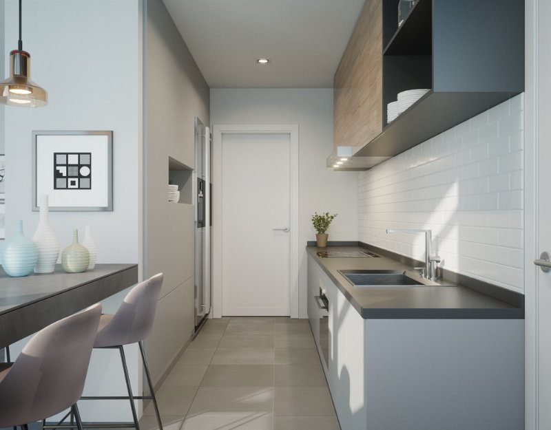 Render of a kitchen in Kefita apartments, Addis Ababa