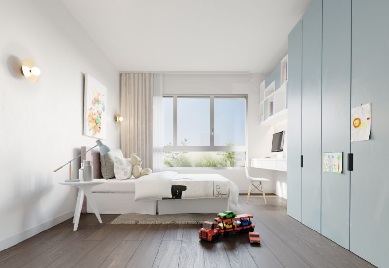 Render of child's bedroom in Kefita, Addis Ababa