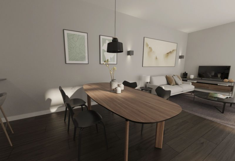 Render of interior of Kefita apartment showing dining table and lounge area beyond