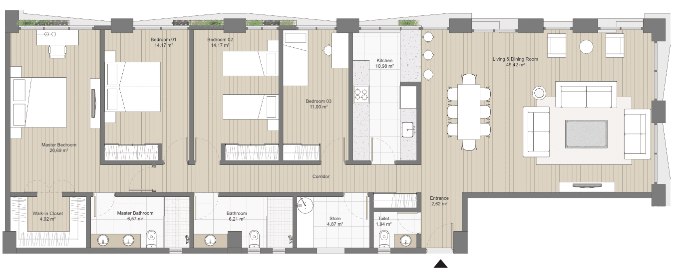 Plan of a 4 bed apartment in Kefita