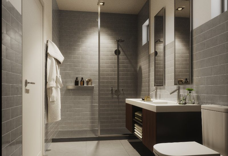 Render of a bathroom in the 1, 2, 3 and 4 bed apartments in Kefita